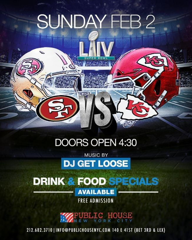 Flyer for Super Bowl Party At Public House