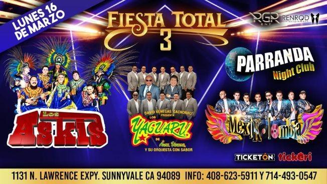 Flyer for Fiesta Total 3 Con Los Askis,Yaguaru y Mas En Sunnyvale,CA