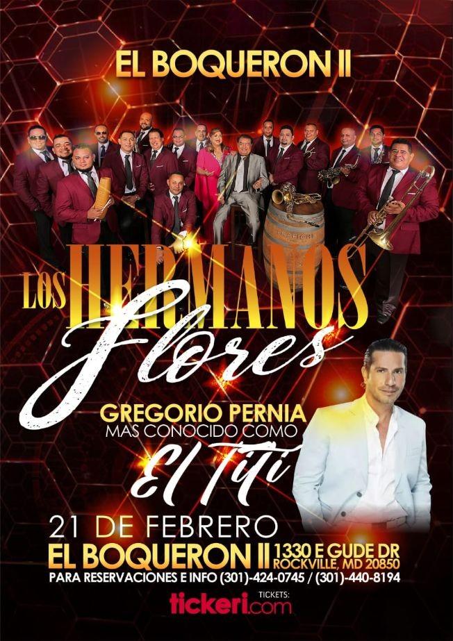 Flyer for Los Hermanos Flores y Gregorio Pernia El Titi en Vivo!