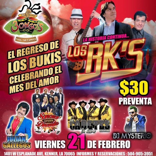 Flyer for El Regreso De Los Bukis En Kenner,LA