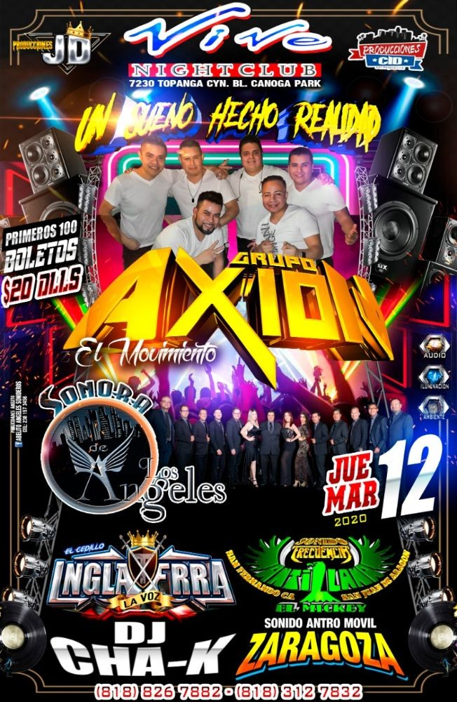 Flyer for Grupo Axion,Sonora Los Angeles y Mas En Canoga Park,CANCELED