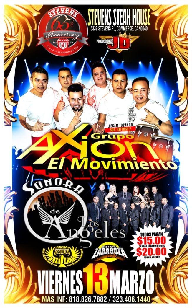 Flyer for Grupo Axion El Movimiento,Sonora Los Angeles y Mas En Commerce,CA canceled