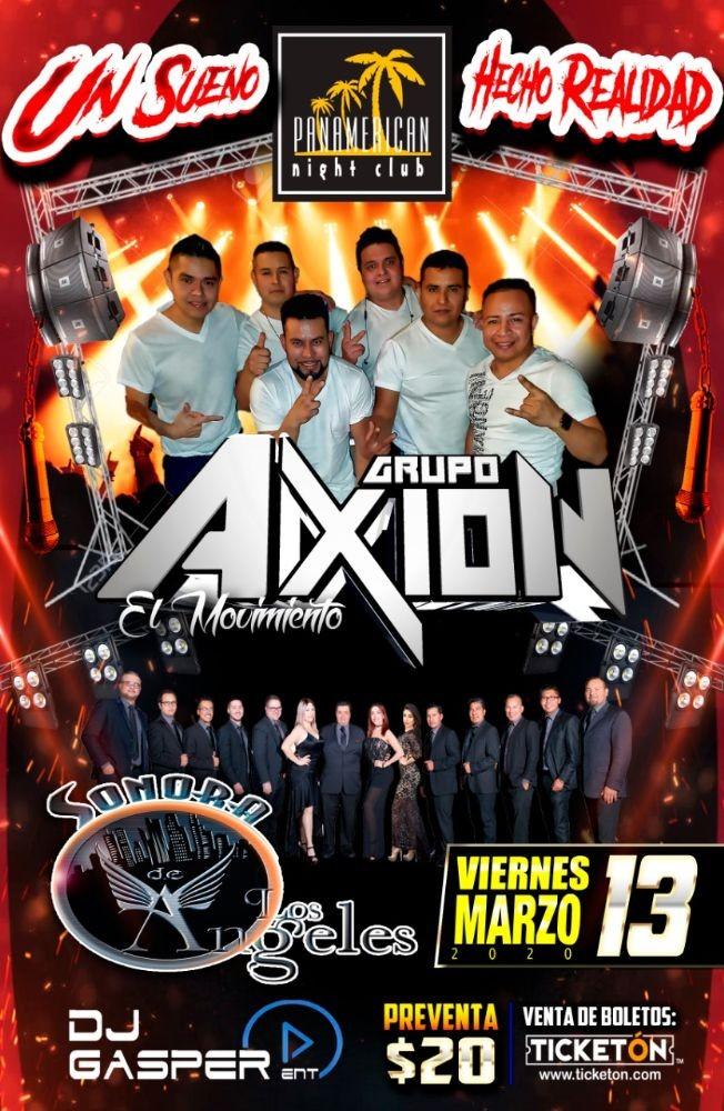 Flyer for Grupo Axion El Movimiento,Sonora Los Angeles y Mas En Concierto CANCELED