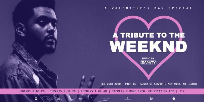 Flyer for THE WEEKND TRIBUTE Yacht Cruise: Valentine's Day Boat Party NYC