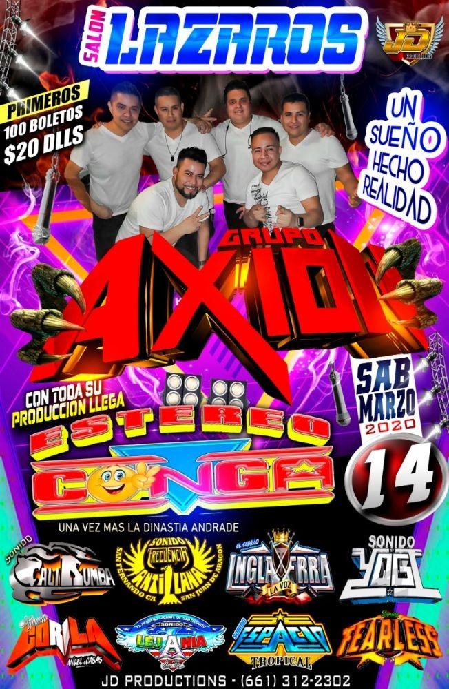 Flyer for Grupo Axion El Movimiento y Mas En Los Angeles,CA CANCELED