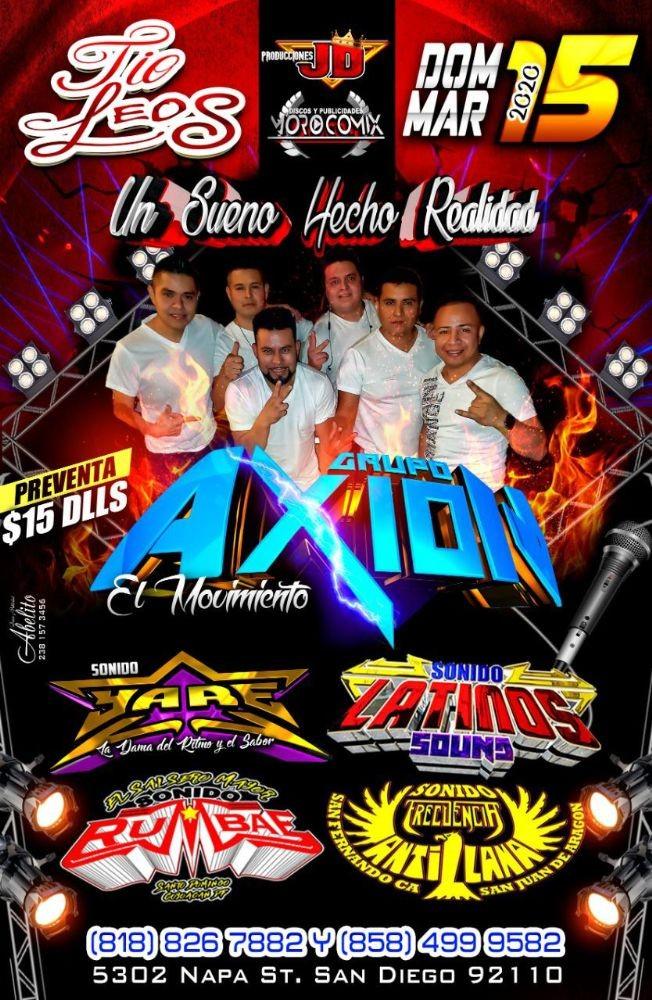 Flyer for Grupo Axion El Movimiento y Mas En San Diego,CA canceled