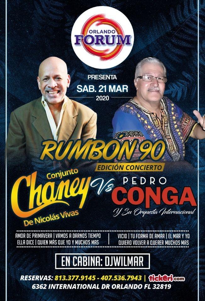 Flyer for SUPER DUELO MUSICAL CHANEY VS PEDRO CONGA POSTPONED