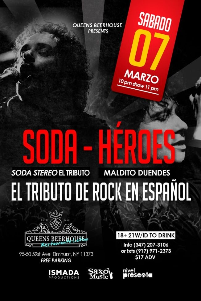 Flyer for Tributo De Rock En Español En Elmhurst,NY