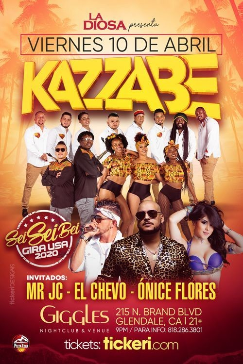 Flyer for Kazzabe, Chevo, Mr Jc, Onice - Los Angeles, CA  (Sei Sei Bei, Gira USA)