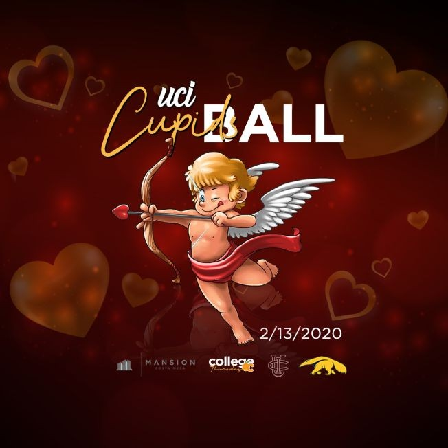 Flyer for COLLEGE THURSDAYS @ MANSION OC 18+ / UCI CUPIDS BALL / PRE VALENTINE PARTY / FREE until 1030