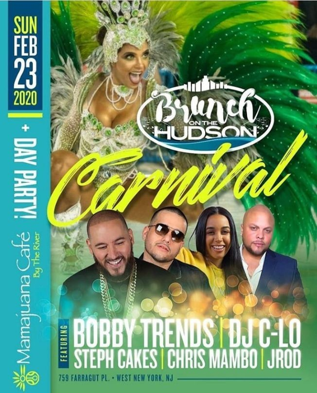 Flyer for Brunch On The Hudson Carnival DJ Bobby Trends Live At Mamajuana Cafe By The River