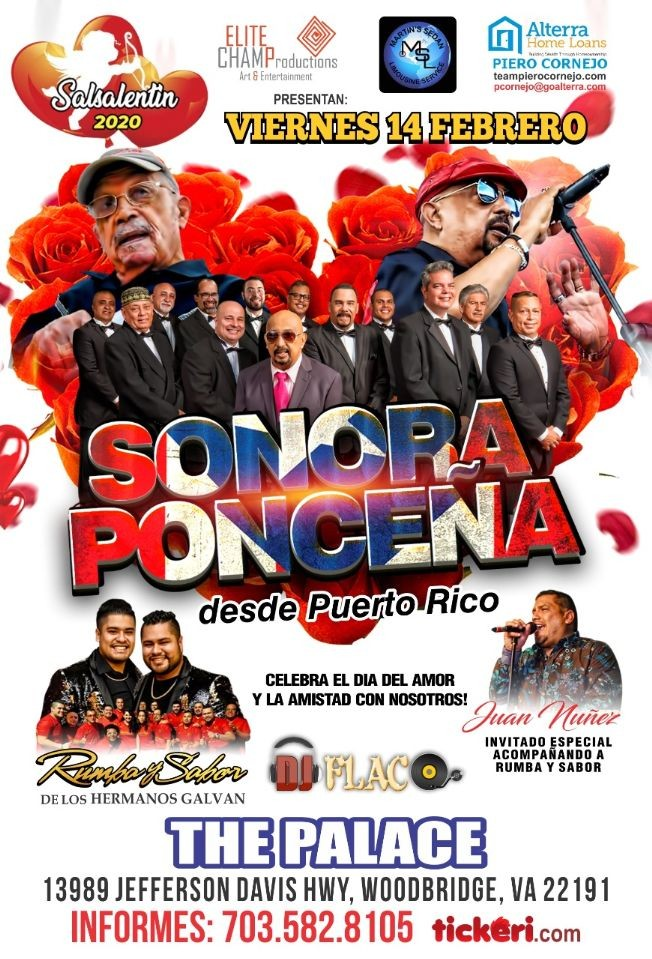 Flyer for La Sonora Ponceña en Woodbridge,VA