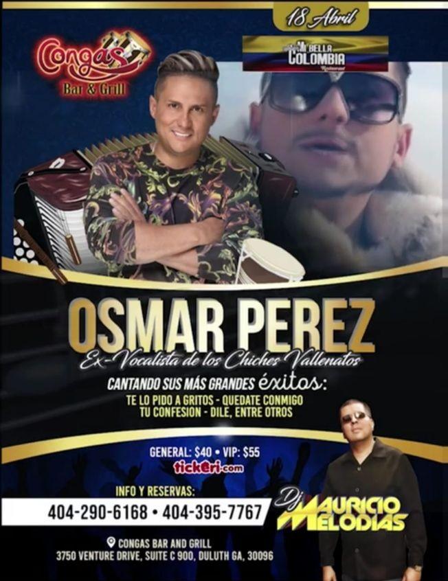 Flyer for Osmar Perez En Concierto En Duluth,GA