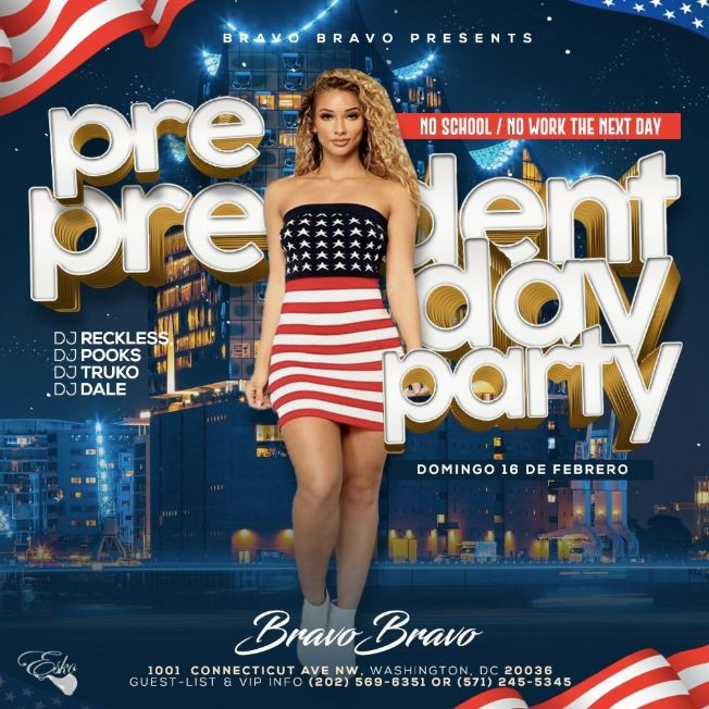 Flyer for Pre President's Day party