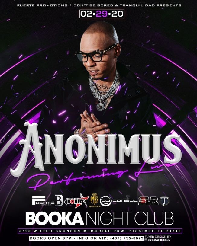 Flyer for Anonimus at booka