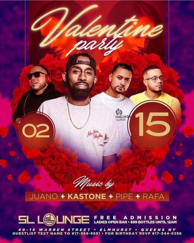 Flyer for Valentine Party At SL Lounge