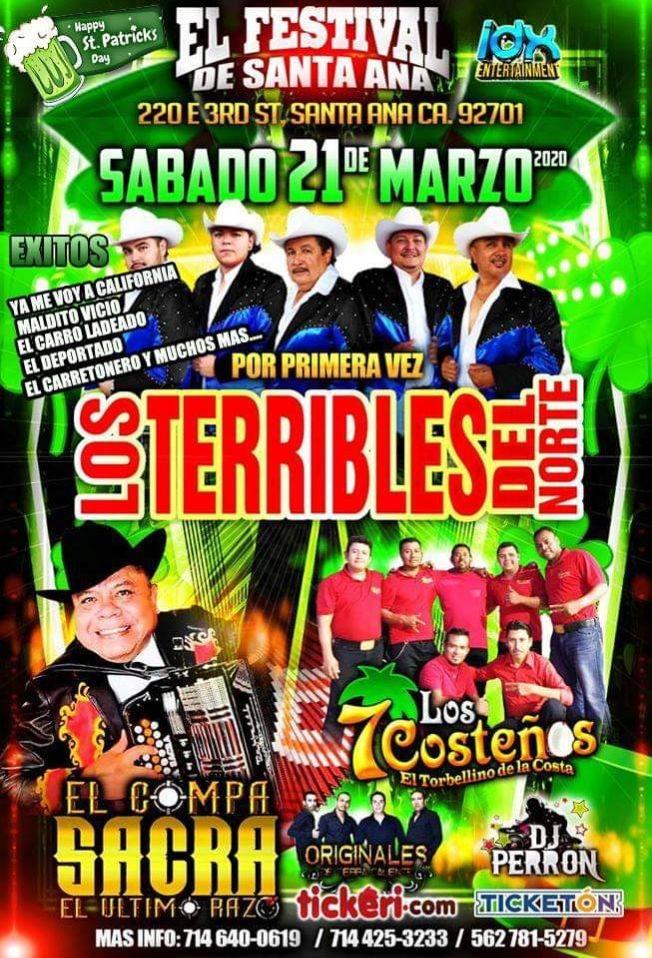 Flyer for Los Terribles Del Norte y Mas En San Ana,CA CANCELED