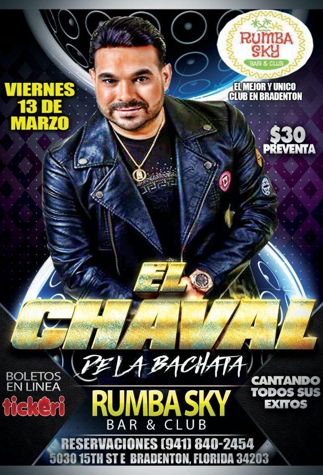 Flyer for EL CHAVAL DE LA BACHATA EN Brandento,FL POSTPONED