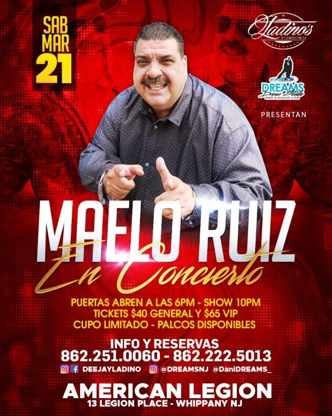 Flyer for MAELO RUIZ POSTPONED