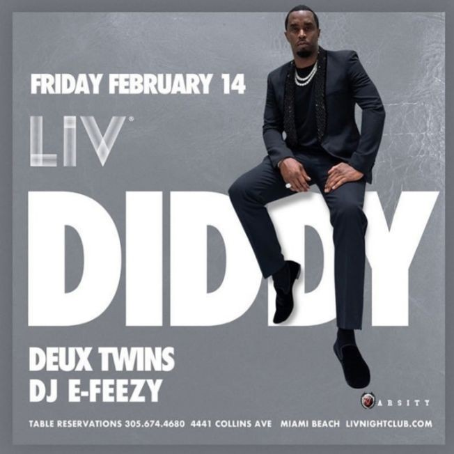 Flyer for Presidents Day Weekend Diddy Live At LIV