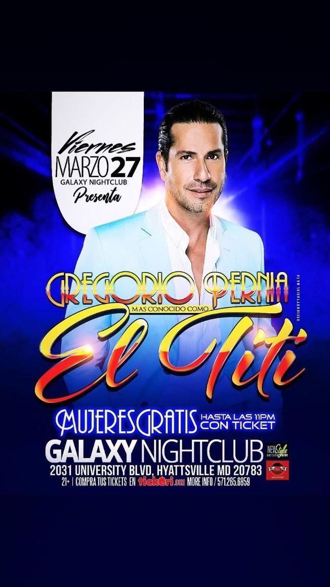 Flyer for Gregorio Pernia El Titi en Vivo! CANCELED