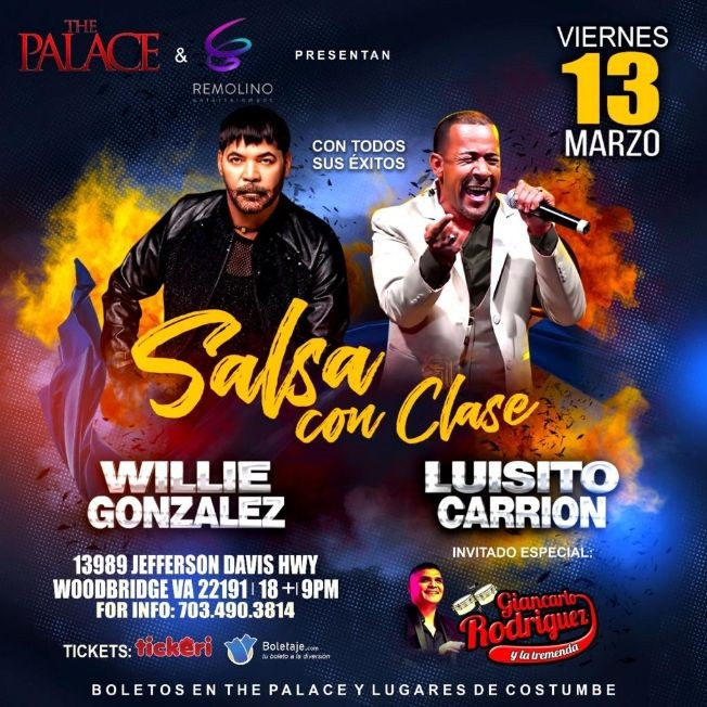 Flyer for Salsa con Clase: Willie Gonzalez en Vivo! POSTPONED