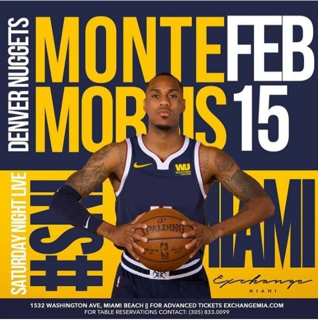 Flyer for Presidents Day Weekend With Denver Nuggets Own Monte Morris At Exchange Miami