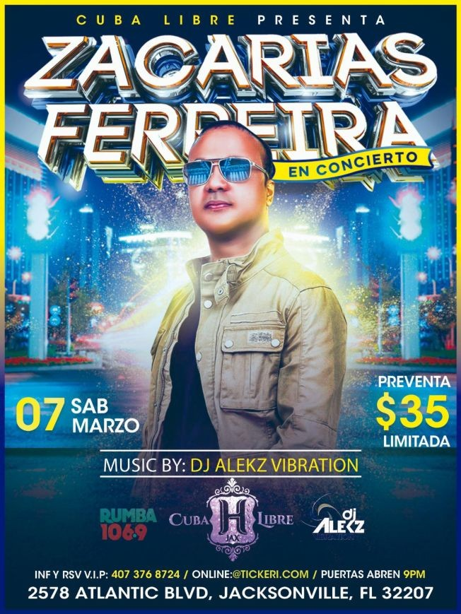 Flyer for Zacarias Ferreira en cuba libre