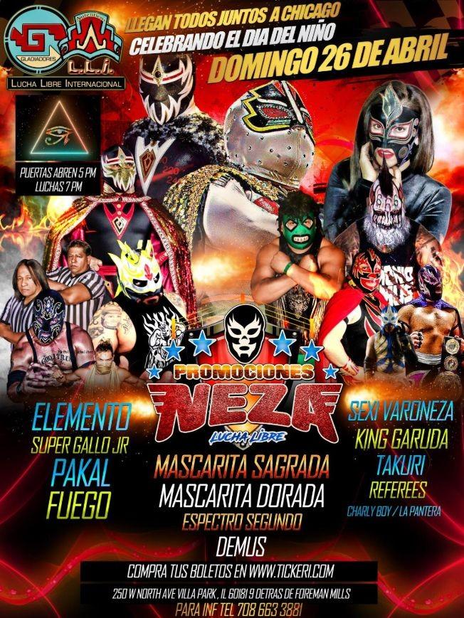 Flyer for Lucha Libre Con Mascarita Sagrada,Mascarita Dorada y Mas En Villa Park,IL
