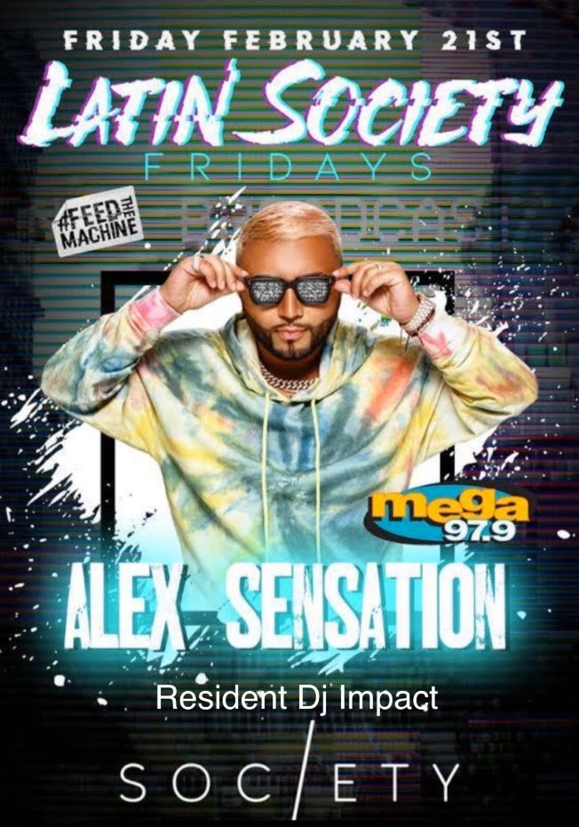 Flyer for Alex Sensation live at the New Society NightClub in Jersey