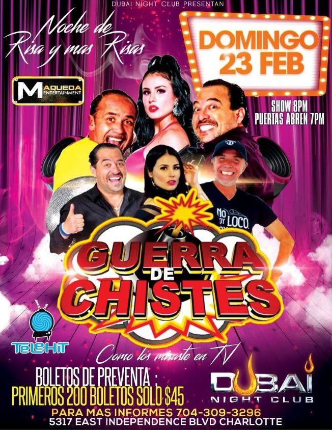 Flyer for Guerra De Chistes En Charlotte,NC