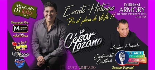 Flyer for Dr CESAR LOZANO  & Andres Maqueda TOUR 2020 En Durham,NC