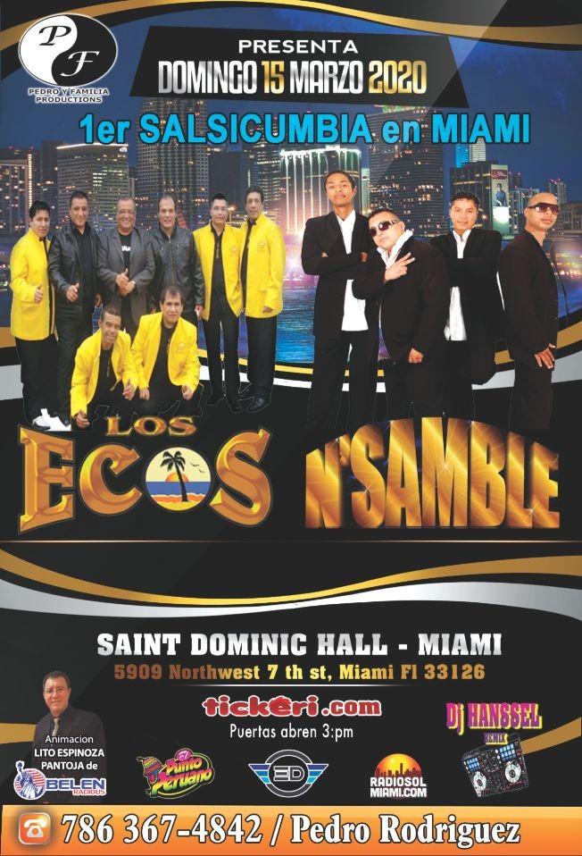 Flyer for 1er SALSICUMBIA EN MIAMI LOS ECOS Y LA ORQUESTA NSAMBLE CONFIRMED