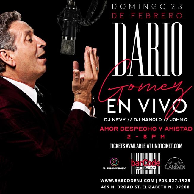 Flyer for Dario Gomez En Vivo @BarCode, NJ