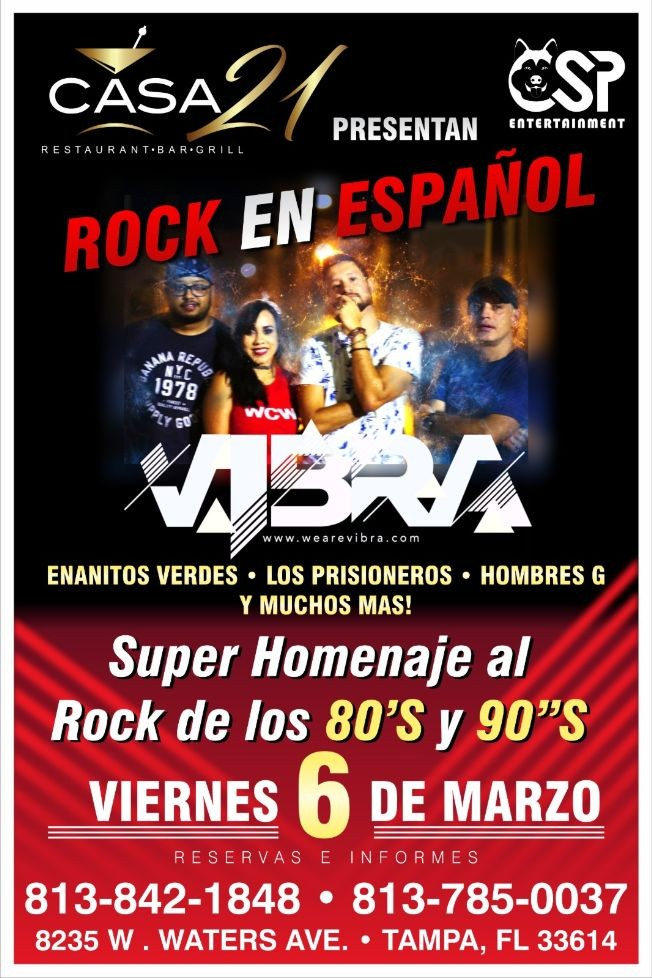 Flyer for Rock En Español Tributo En Tampa ,FL