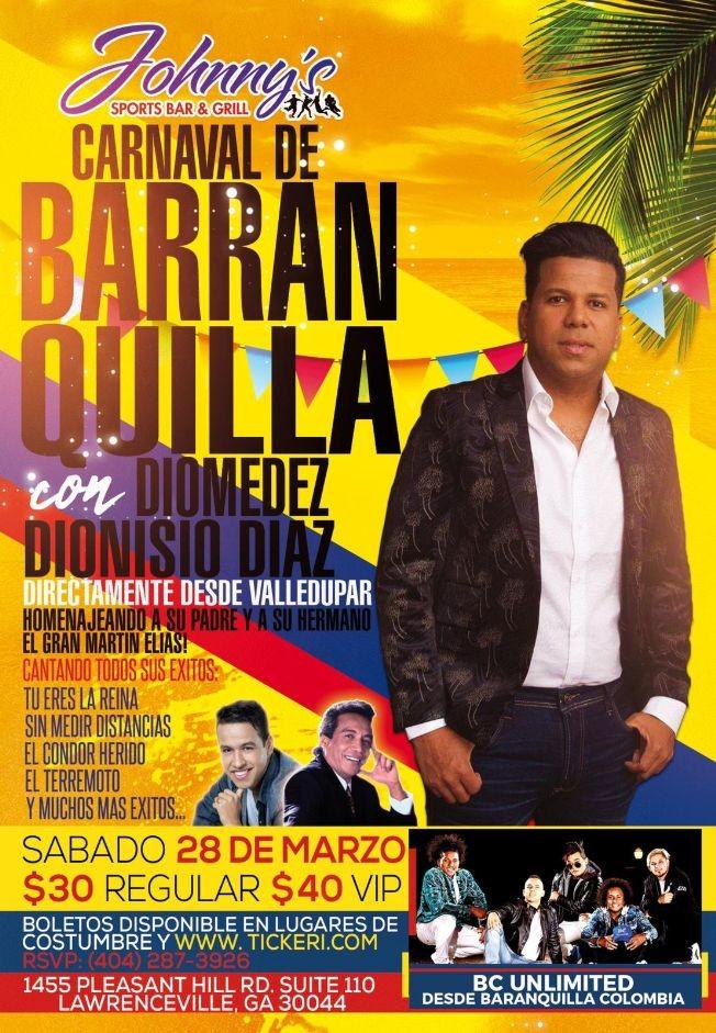 Flyer for Carnaval De Barranquilla Con Diomedez Dionisio Diaz En Lawrenceville,GA