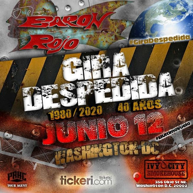 Flyer for Baron Rojo Ultima Vez En Washington DC Despedida 2020!