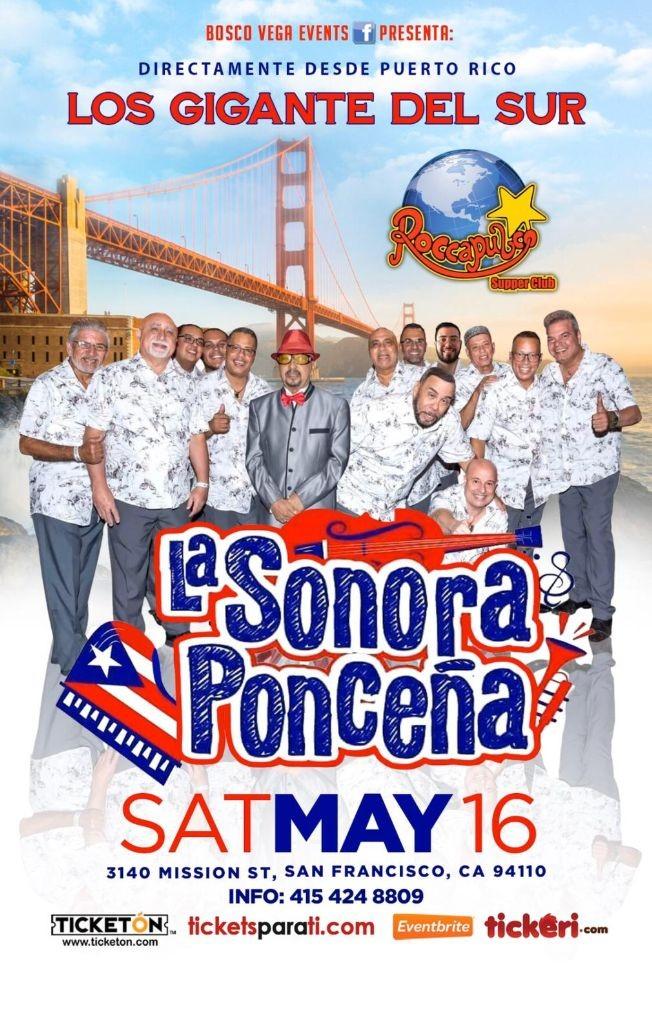 Flyer for La Sonora Ponceña En San Francisco,CA
