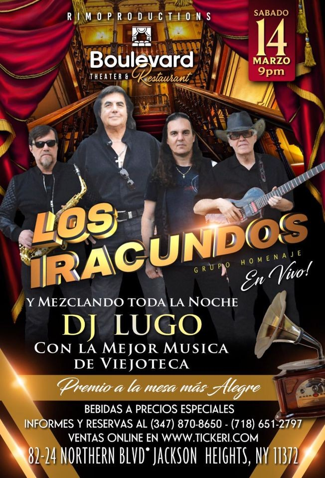 Flyer for Los Iracundos Grupo Homenaje En Vivo En Jackson Heights,NY POSTPONED
