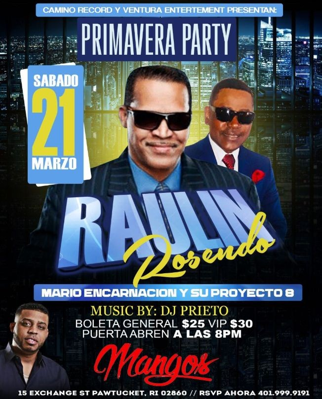 Flyer for Raulin Rosendo en Vivo! CANCELED