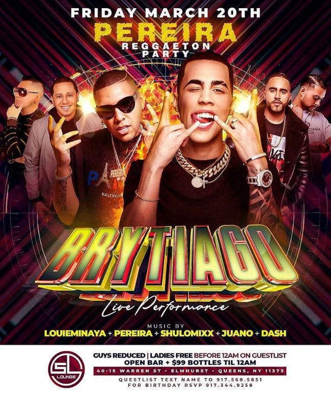 Flyer for Brytiago Live At SL Lounge POSTPONED New Date Will Be Announed Soon
