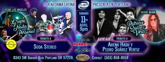 Flyer for Patricio Suárez Vertiz & Nada Personal Tributo a Soda Stereo POSTPONED