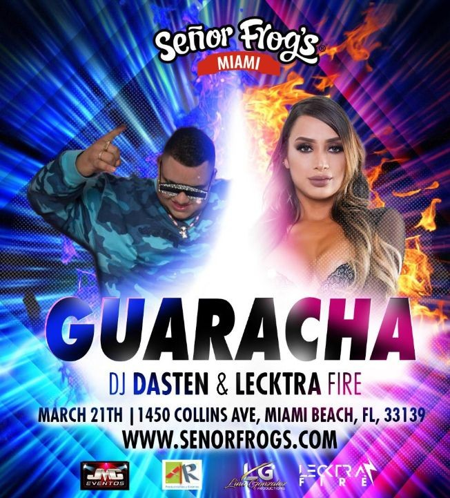 Flyer for Guaracha con DJ Dasten y Lecktra Fire en Vivo! CANCELED