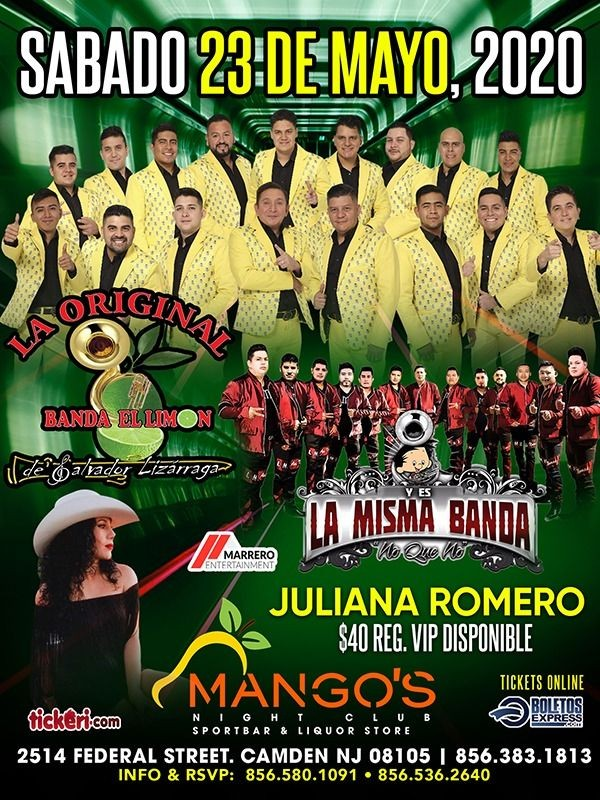 Flyer for POSTPONED: La Original Banda El Limon, La Misma Banda y Juliana Romero en Vivo!