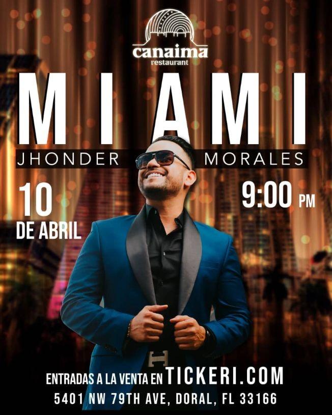 Flyer for Jhonder Morales en Vivo en Miami!