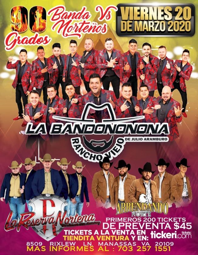 Flyer for La Bandononona, La Reserva Norteña y Arrendado Norte en Vivo! CANCELED