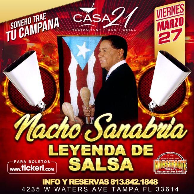 """Flyer for La Leyenda de la Salsa """"Nacho Sanabria"""" en Concierto"""