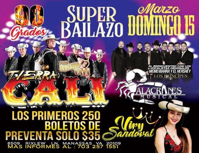 Flyer for Tierra Cali y Alacranes Musicales y Viry Sandoval CANCELED