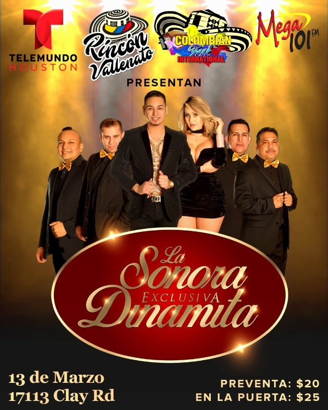 Flyer for La Sonora Dinamita en Vivo En Houston, TX CONFIRMED