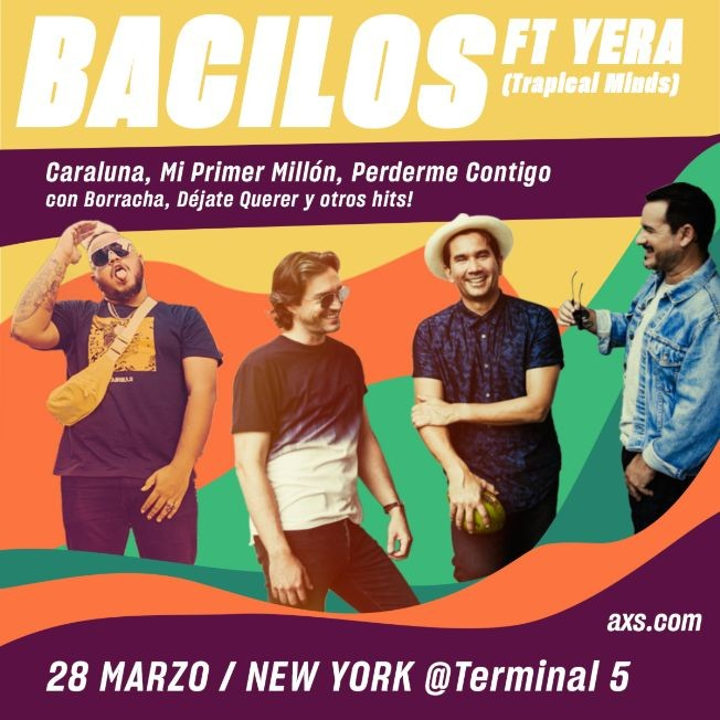 Flyer for Bacilos ¿Donde Nos Quedamos? US Tour ft. Yera POSTPONED